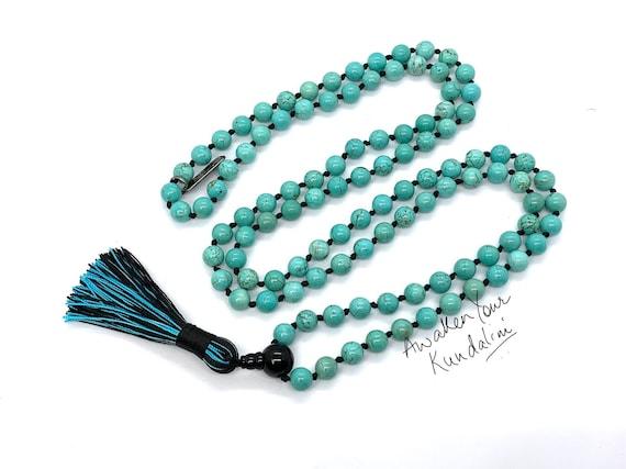 Energized Turquoise Mala Beads Necklace 108 Mala Beads Prayer Beads Yoga Jewelry Japa Mala Gemstone necklace beach summer aqua blue necklace