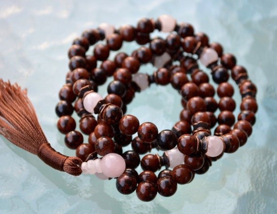 108 mahogany obsidian mala beads necklace rose quartz jewelry anniversary gift for husband valentines day gifts for men gift dad grandpa him