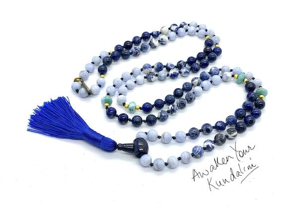 Lapis Larimar Sodalite Lace Agate Throat Chakra Balancing Mala Beads Necklace Wedding Bohemian Meditation Water Sign 108 Knotted Prayer bead