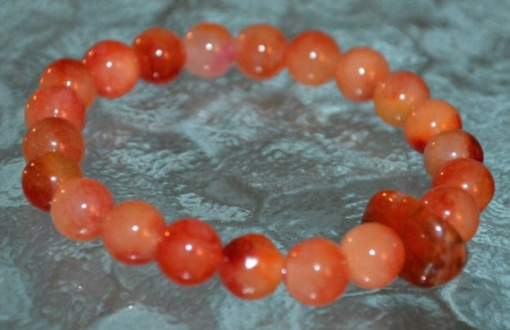 Natural Red Fire Agate Mala Bead Bracelet Improves Sexual Activity, Root Chakra, Vitality, Overcoming Addictions, Reduces Hot Flashes