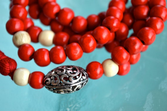 108 Wooden Dyed Handmade Mala Beads Necklace -Blessed Karma Nirvana Meditation 8mm Prayer Bead For Awakening Chakra Kundalini