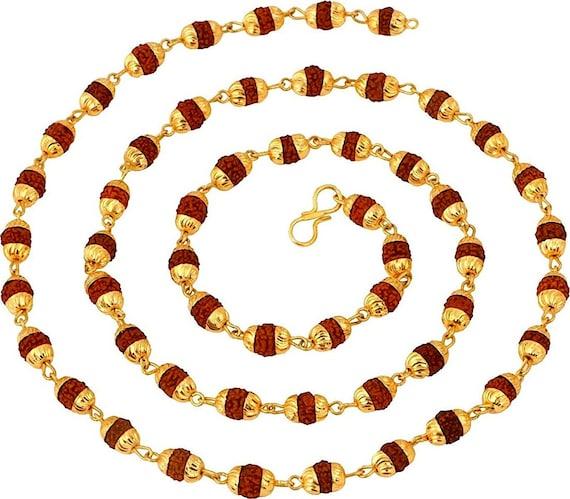 Rudraksh Beads, Rudraksha Mala Beads Necklace with Golden caps links -Energized Karma Nirvana Meditation 6 mm Awakening Chakra Kundalini