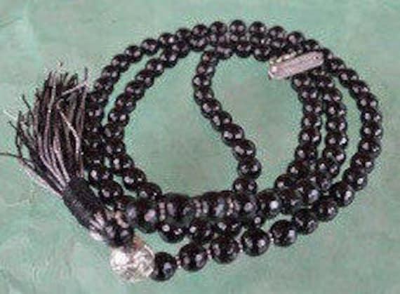 108 Black Jade Prayer Japa Mala Necklace , Faceted 8 mm Black Jade Mala Beads, Energized Black Jade Mala, Black & Silver Jade Mala Beads