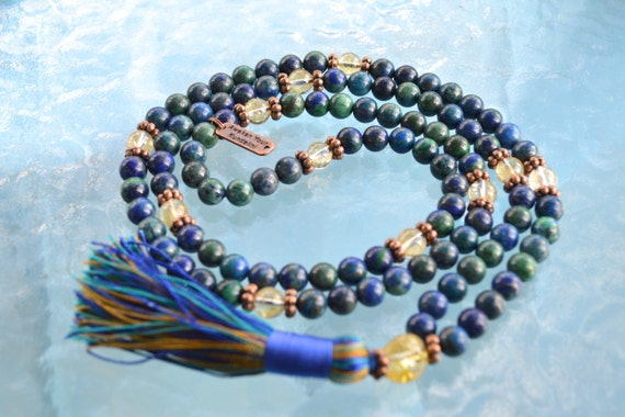 Custom Order For Linda Natural AAA grade 8 mm Azurite and Citrine Mala Beads Necklace for Psychic gifts - Third Eye Activation Mala Beads