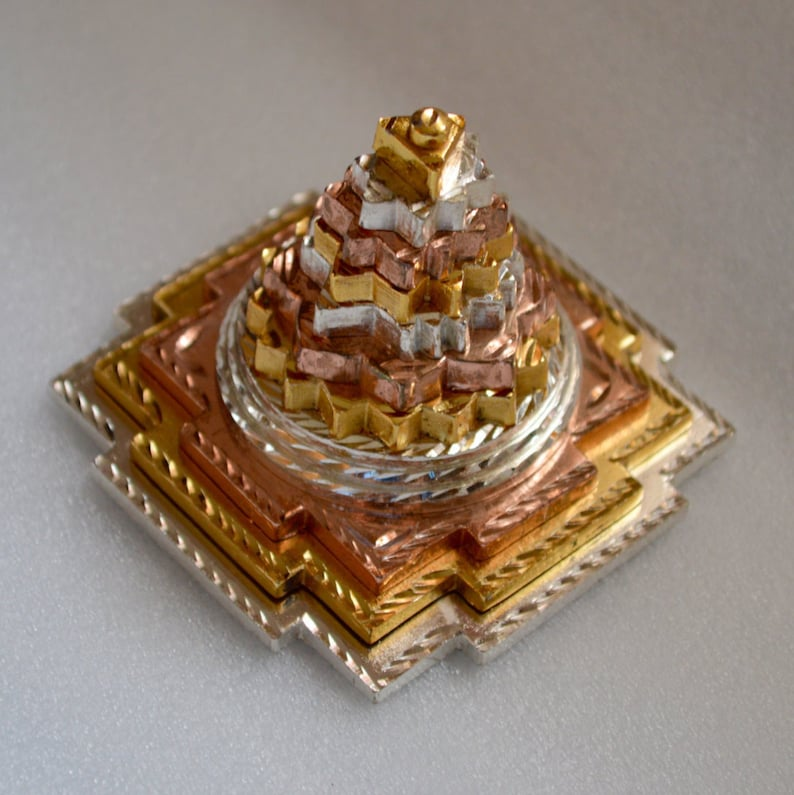 Energized Sri Shree Meru Yantra 3D in Pure Ashtdhatu gold/silver/Rose  polished 3x3 Approx  300 Gm, Shri Maha Laxmi Yantra, Spiritual powers