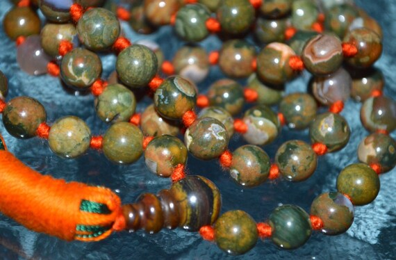Knotted Rainforest Jasper Mala Rhyolite Beads Necklace - Heal any emotional problems you may have, gives you a deeper connection with nature