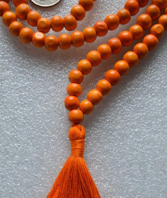 10mm Tulsi Holy Basil Orange Prayer Bead Hand Made Mala Necklace - Blessed Karma Nirvana Meditation 108 Beads For Awakening Chakra Kundalini