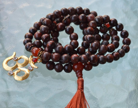 mahogany obsidian carnelian mens mala necklace mala beads 108 minimalist necklace birthstone necklace statement necklace om aum necklace 8mm