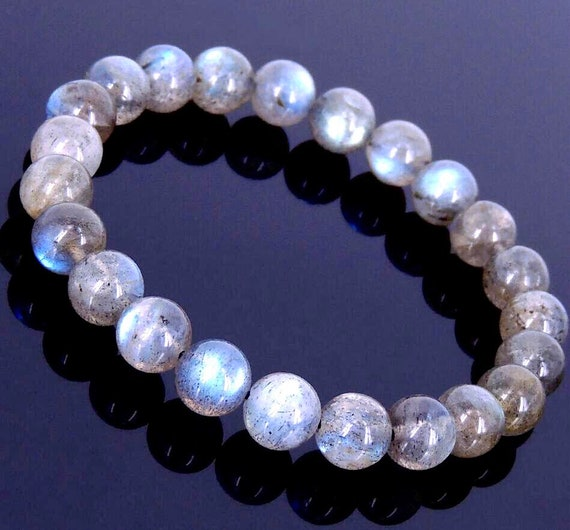7-8 mm AAA grade Labradorite Bracelet/ Hand Tibetan Mala Beads Healing Bracelet - For Intution, Psychic Abilities, Calming, Emotional & Chak
