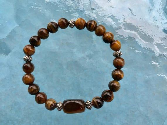 Tiger Eye beads, Rudraksh Wrist Mala, Rudraksha Beads, Healing Bracelet - Energized, Karma, Nirvana, Meditation Rosary, Awakening, Chakra