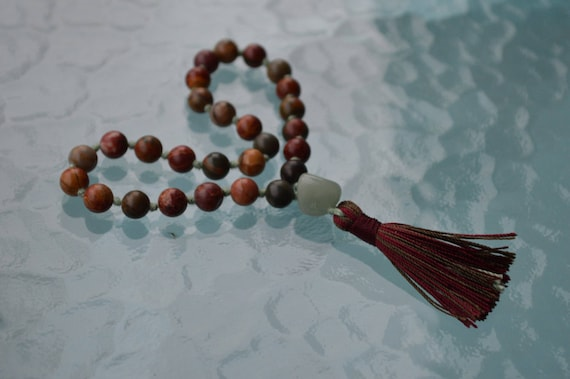 27+1 Red Picasso Jasper Knotted Quarter Mala Renew lost Friendship, Stability during transformation or changes, Disolve Creative Blocks
