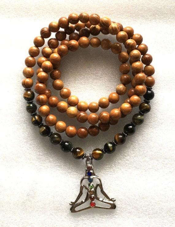 Yoga Wrap Mala Beads Necklace, Tiger Eye 108 Wrap Mala Beads,Brown Wrap Mala, Wooden Wrap Mala , Tigers Eye Wrap Mala, Stretch Mala Beads