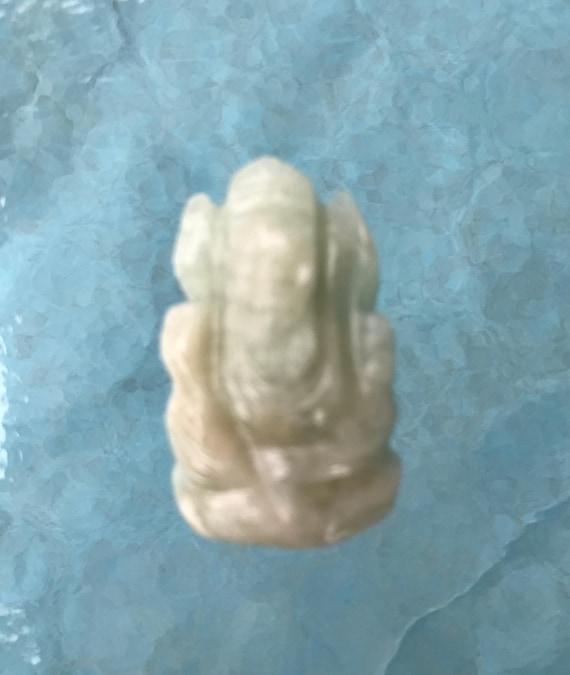 Energized Green Aventurine Ganesha, Gemstone Ganesha, Orange Ganesha statue, Semi Precious Lord Ganesha Remover of Obstacles, 1.25'' Ganesha