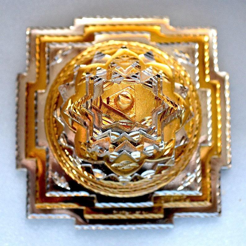 Energized Sri Shree Meru Yantra 3D Ashtadhatu (mix of 8 metals) gold/silver  4x4