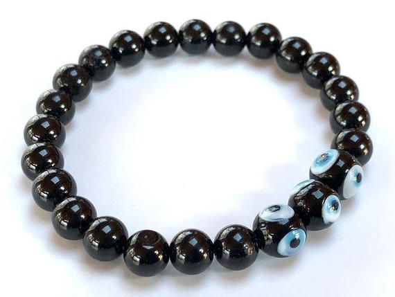 AAA Grade Genuine Black Tourmaline and Evil Eye Mala Beads Bracelet , Earthy Bracelet, Protective Bracelet, Black Elbaite,Schorl Bracelet