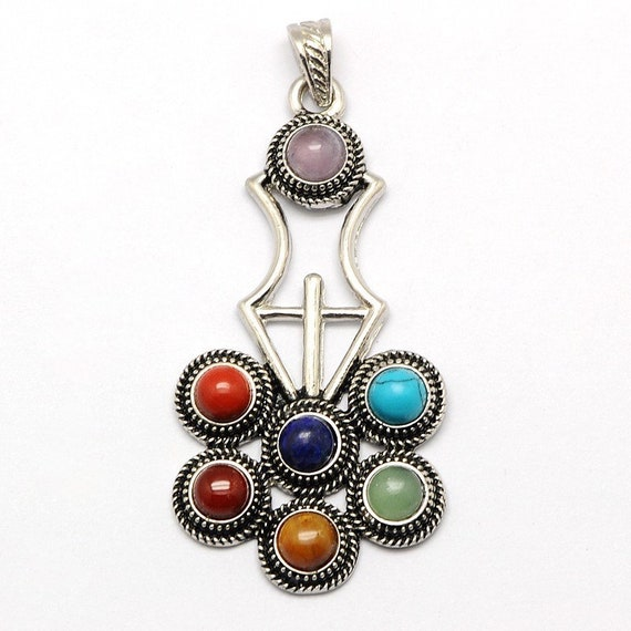 Cyber Monday Sale 7 Chakra Gemstones Pendant Reiki Healing Stones -Blessed & Energized Chakra Balancer Healing PendantChristmas