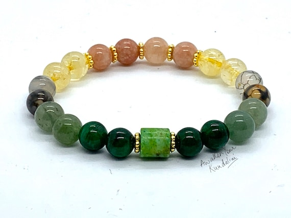 8 mm Energized Crystals of Luck, Good Luck crystal Mala Beads bracelet, Wealth Luck Citrine  Aventurine Chrysoprase Jade Sunstone Tourmilin