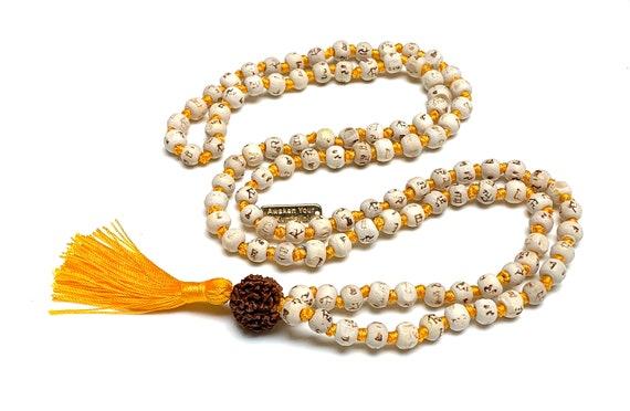 8 mm Tulsi Holy Basil Hare Rama Krishna Hand Knotted Mala Beads Necklace Energized Karma Nirvana Meditation 108+1 Beads For Awakening Chakra