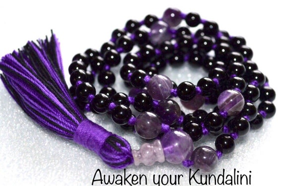 Emotional Protection Stability Onyx and Amethyst Mala Beads, Mala Necklace, Amethyst Mala Prayer Bead Knotted Necklace, Yoga Gift for Her