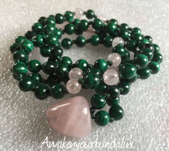 Heart Chakra Rose Quartz Malachite Moonstone 108 Knotted Mala Bead Unconditional love Openness Balance Forgiveness Trust Compassion Insomnia