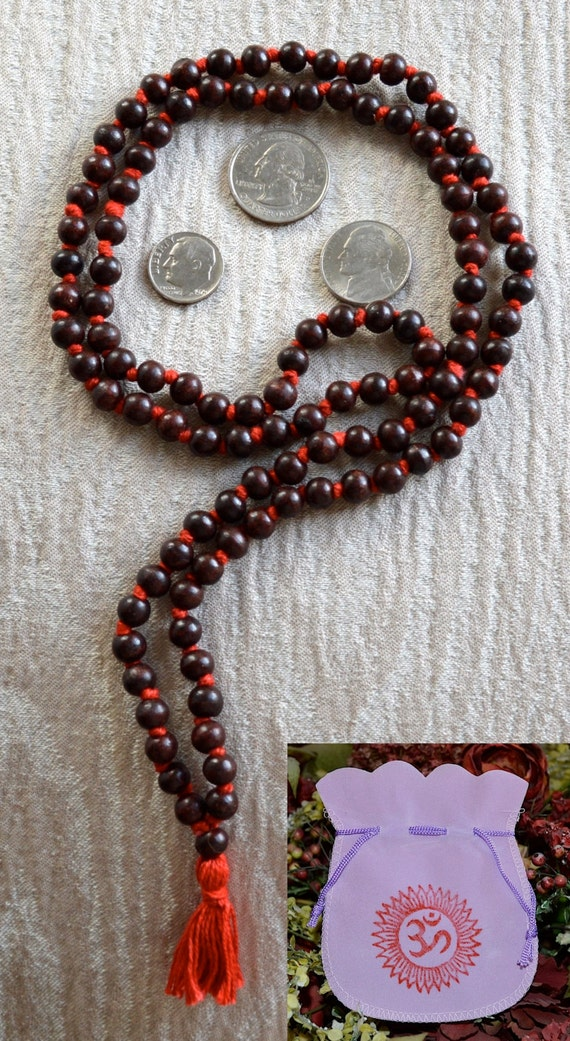 108 Red Sandalwood Hand Knotted Mala Bead Necklace, Laal Chandan Mala Beads Necklace, Chandan Mala, Energized Red Sandalwood Knotted Mala