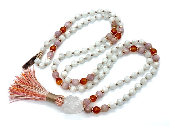 Divine Feminine Moonstone Mala Beaded Necklace/Tassel Necklace/Mala/Necklace/Moonstone Mala Necklace/Energized Blessed Moonstone Mala Beads