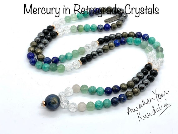 Crystals for Mercury in Retrograde Mala Necklace Retrograde moon phase healing crystals planetary crystal healing Celestial protection