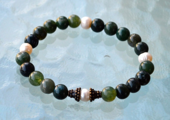 Earthy Fresh Water Pearl Moss Agate Wrist Mala Beads Healing Bracelet - Blessed Meditation Prayer Beads for Awakening Chakra Kundalini