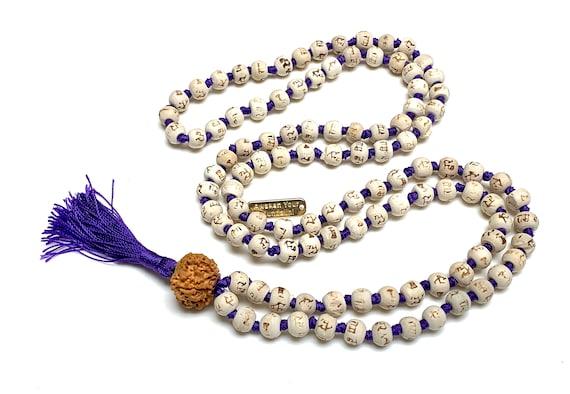 8 mm  Tulsi Holy Basil Hare Rama Krishna Hand Knotted Mala Beads Necklace Energized Karma Nirvana Meditation 108+1 Beads For Awakening Chakr