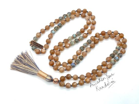 AAA Natural labradorite Sunstone mala 108 beads necklace, Sunstone necklace, Grey labradorite mala beads 108, Orange knotted mala necklace