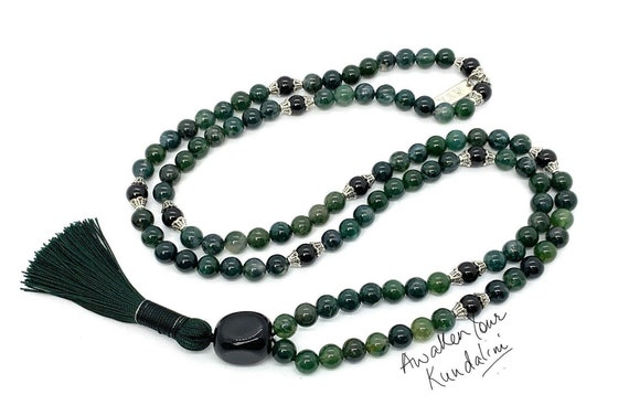 Moss agate necklace - Tourmaline mala moss agate silver handmade semi precious stone necklace , green silver gemstone jewelry, Taurus gift