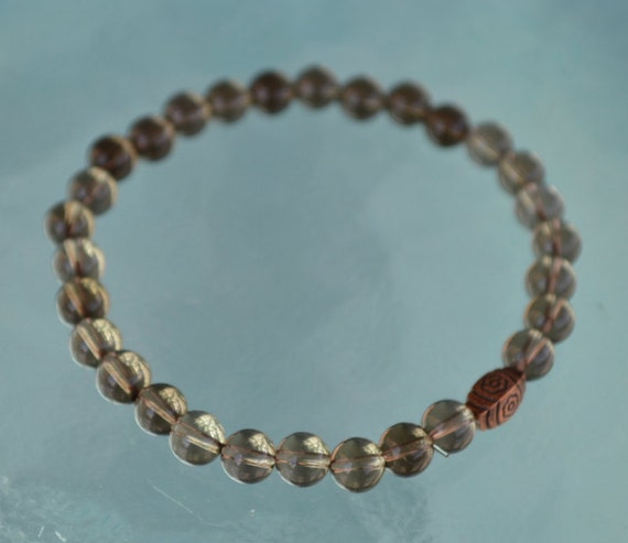 Genuine Smoky Quartz Crystal Mala Beads Bracelet, Brown Gemstone Bracelet - Grounding, Stability, Aids Sexual life, Survival, Manifestation