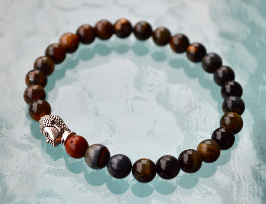 Red Tigers Eye Wrist Mala Gemstone Beaded Bracelets Powerful Protective Bracelet