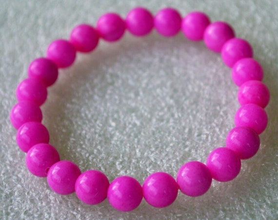 Magenta Jade, Electric pink Wrist Mala, 8 mm Wrist Bracelet, Beads Healing Bracelet - for emotional balance and stability, love,heart chakra