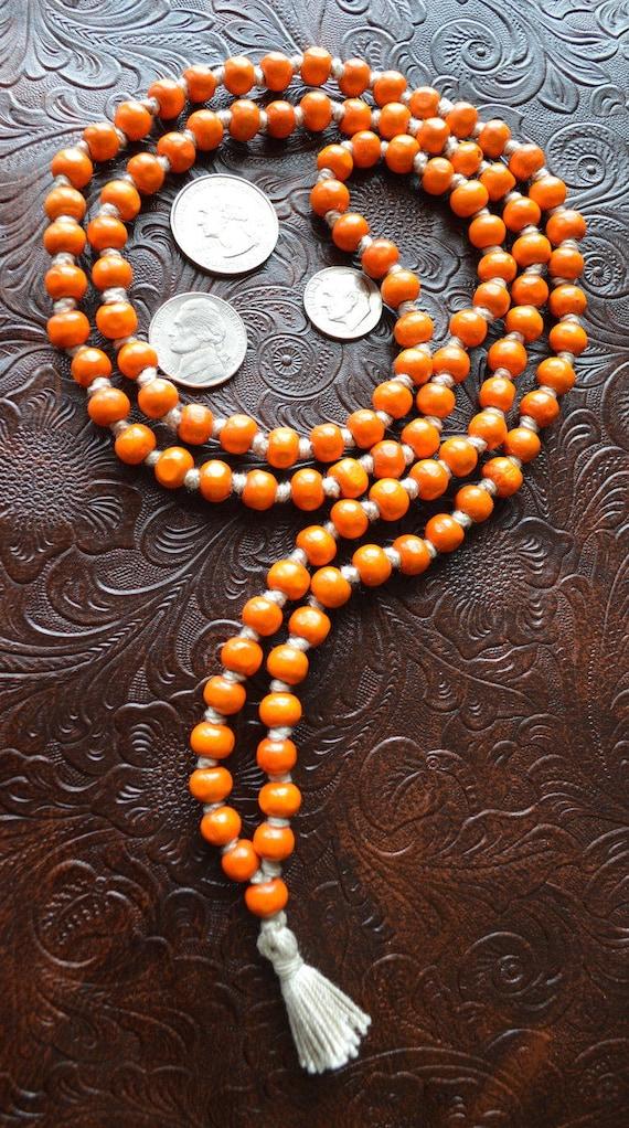 108 Tulsi Holy Basil Orange Hand Knotted Mala Beads Necklace - Karma Nirvana Meditation 8 mm Prayer Bead For Awakening Chakra Kundalini