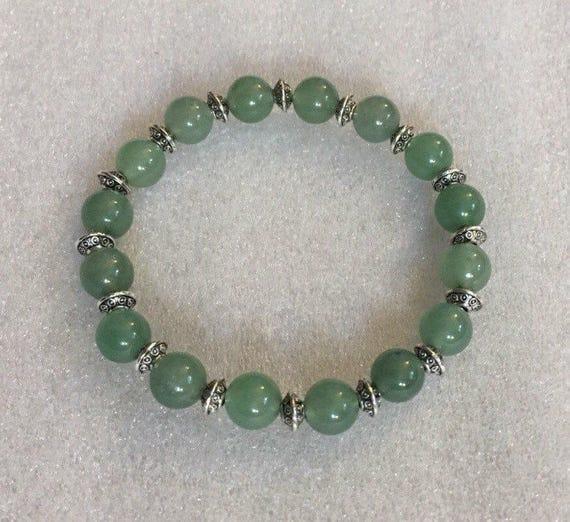 Green Jad Beads, Bracelet, Calming, Wrist Mala, Chakra Bracelet, Energized Bracelet, 8 mm, Healing Bracelet, Buddhist Beads Bracelet