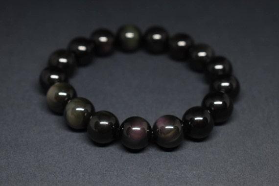 EMPATH PROTECTION Wrist Mala Rainbow Obsidian Mala Bracelet Jewelry Gemstone Meditation Psychic Empath Mala Bracelet  gemstone bracelet