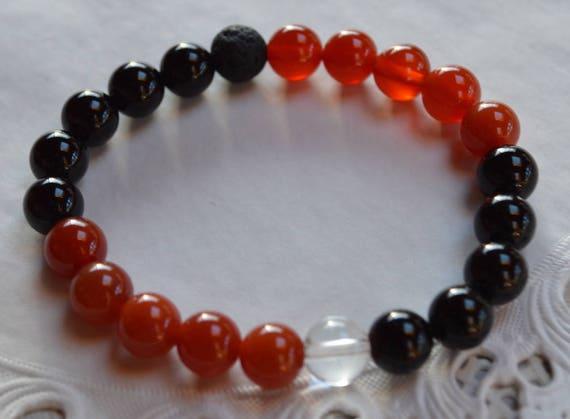 Harvard Black Onyx Carnelian Wrist Mala Beads Healing Bracelet Root Chakra Mala Beads, Lokai Style Harvard Bracelet, Black and Red Bracelet