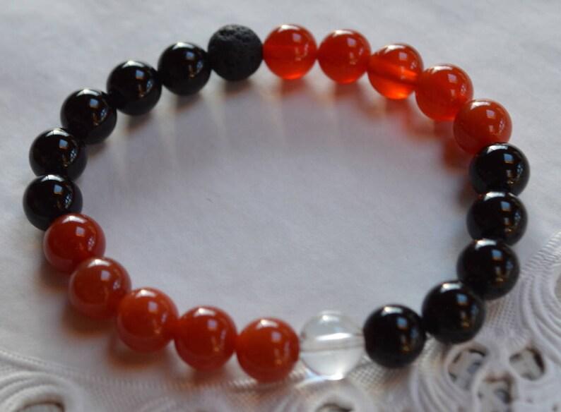 6f9d17ec8d8c4 Harvard Black Onyx Carnelian Wrist Mala Beads Healing Bracelet