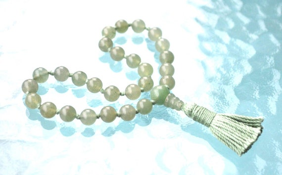 Heart Chakra 27+1 Green Aventurine Quarter Mala Bead,Mini Mala Beads, Unconditional love Understanding Openness Balance Forgiveness Trust