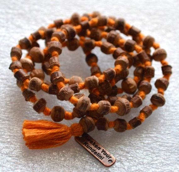 Natural Raw Tulsi Holy Basil Knotted Mala beads Necklace  || Tulsi Mala Bracelet  || Knotted Tulasi Mala in Orange string || Wood mala beads