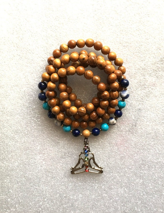 108 Throat Chakra Balancing Mala Beads Necklace Wedding Wooden Meditation Sky blue Beach Knotted Prayer beads Bracelet Yoga Gift Aquamarine