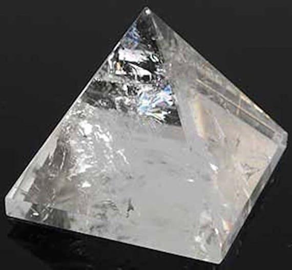 "Genuine and Energized Nirvana Crystal Quartz Pyramid, Reiki Healing Approx. 1.5""-2"" GemStone Quartz Crystal - Reiki Chakra Balancer Pyramid"