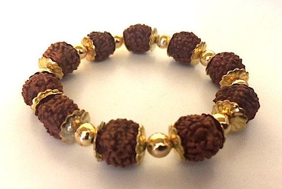 Cyber Monday Sale Rudraksh beads bracelet, Rudraksha, Elastic Wrist bracelet, Mala Beads, Healing Bracelet - Blessed & Energized