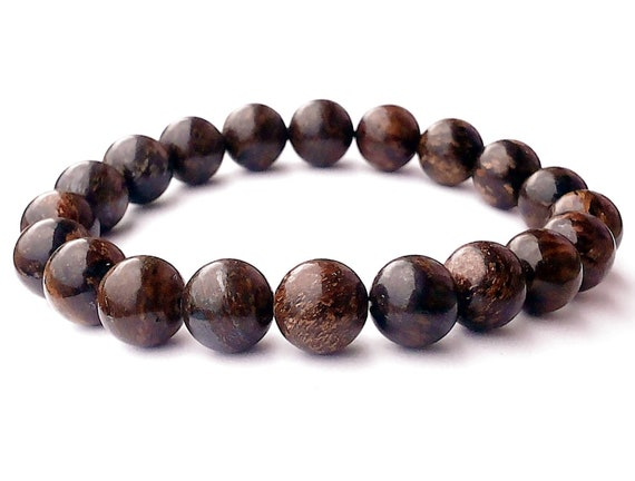 brown bronzite mala bracelet beaded bracelet charm gemstone stretch bracelet wish bead crystal bracelets men mens womens birthstone bracel