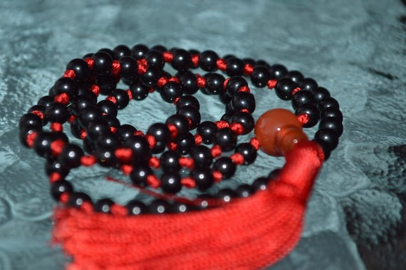 Root Chakra Black and Red 108 Onyx Hand Knotted Mala Beads Necklace - Emotional Protection, Calming Sexual Tensions, Marital Disputes