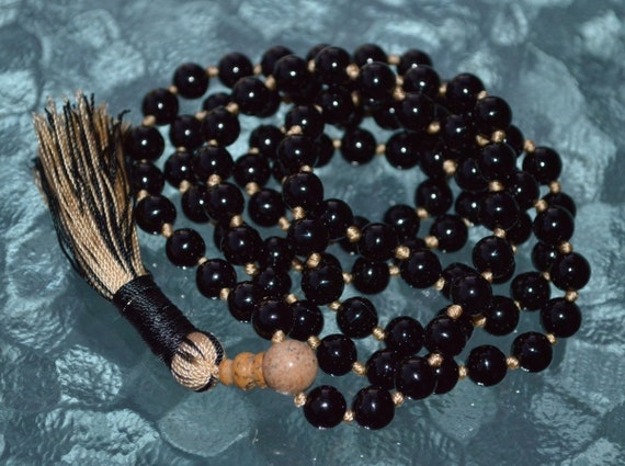 Black Tourmaline Knotted Mala Necklace - deflecting radiation energy,repel and protect from negative energy and changes into positive energy