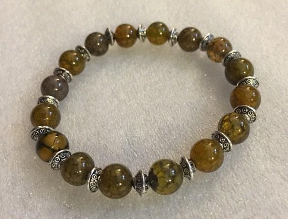 6 mm Green Agate Dragon Vein Mala Bead bracelet Buddhist Prayer Beads bracelet Gemstone Mala - Energized for Spiritual Awakening