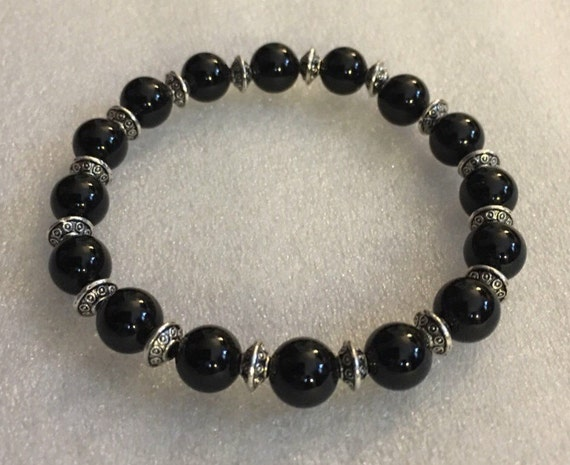 Genuine Black Tourmaline Mala Bracelet, Natural Tourmaline Jewelry, Earthy Bracelet, Protective Bracelet, Black Elbaite,Schorl Bead Bracelet