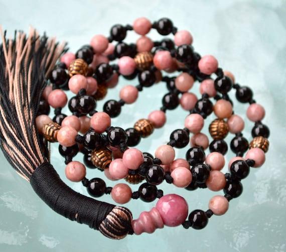 Rhodonite & Black Tourmaline Mala Necklace 108 knotted Gemstone Fertility Mala Beads Heart Chakra Healing Bracelet Anniversary Gift for her